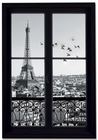 Learn foreign language skills sticker trompe l 39 il vue sur la tour eiffel - Stickers trompe l oeil sur mesure ...