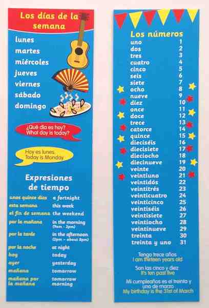 learn foreign language skills spanish days  numbers bookmark