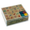 26 Stamp Classic Wooden Stamp Set With Ink Pads