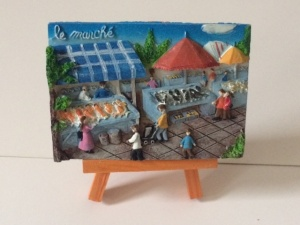 Le marché (poissons) Mini painting with easel