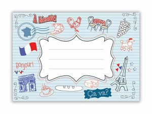 French exercise book label