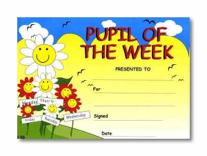 Pupil of the week reward certificate