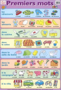 Premiers Mots / Poster first French words illustrated