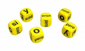 Set of 6 Spanish Conjunctions dice