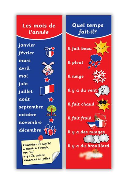 Learn Foreign Language Skills French months and weather bookmark