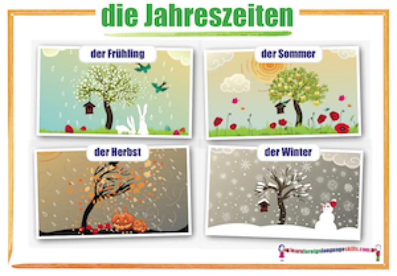 Learn Foreign Language Skills German Seasons Wall Chart