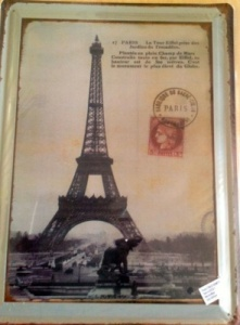 Eiffel tower themed antique metal plaque