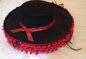 Black Spanish flamenco hat with red pompons