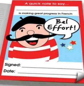 Bel effort French praise notepad