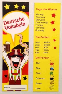 German days, numbers and colours bookmark