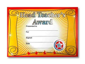 Head teacher award certificate