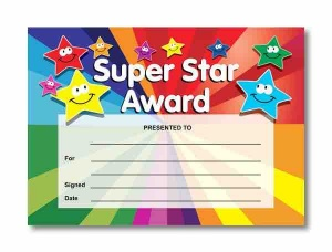 Super star reward certificate