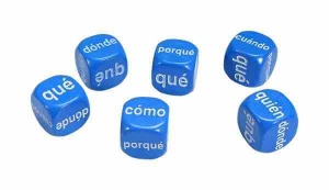 Set of 6 Spanish Question Dice