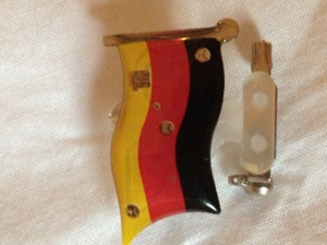 German LED flashing badge / fridge magnet