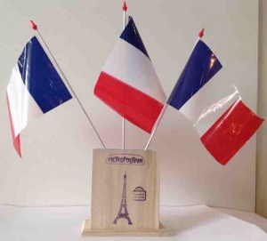 French desk flag holder with 3 flags