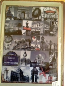 Paris themed metal wall plaque