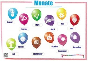 German months wall chart / Monate