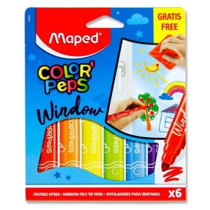 6 Window Felt Tip Pens & Cloth