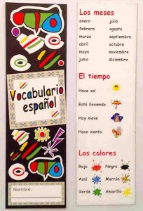 Spanish months, Weather & Colours bookmark