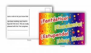Spanish praise words postcard